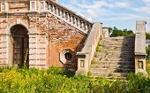 stock photo of manor  - Stairs old brick manor house on a summer day  - JPG