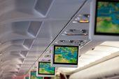 foto of aeroplane  - Monitors in aeroplane cabin - JPG