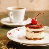 image of cheesecake  - cheesecake with cherry - JPG