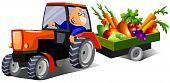 happy farmer driving a tractor