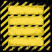 image of barricade  - four grunge horizontal banners on barricade tape - JPG