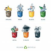 Постер, плакат: Trash Segregation Bins For Organic Paper Plastic Glass Metal Mixed Waste