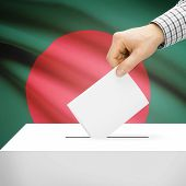 stock photo of bangladesh  - Ballot box with national flag on background series  - JPG