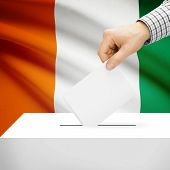 picture of ivory  - Ballot box with national flag on background series  - JPG