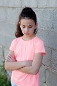 picture of  preteen girls  - Angry preteen girl with pink t - JPG