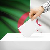 image of algeria  - Ballot box with national flag on background series  - JPG
