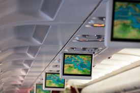 stock photo of aeroplan  - Monitors in aeroplane cabin - JPG