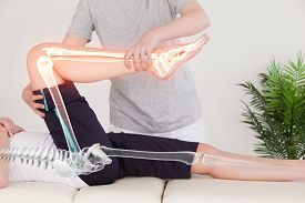 stock photo of chiropractor  - Digital composite of Highlighted bones of woman at physiotherapist - JPG