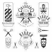 Постер, плакат: barber shop emblems