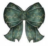 Fancy Green Bow With Stars