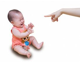 picture of cry  - Asian baby crying while mother scolding isolated on white background - JPG
