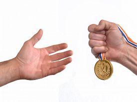 stock photo of gold medal  - Rewarding - JPG