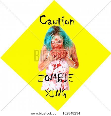 Постер, плакат: Caution ZOMBIE XING sign Zombies are a menace and pay no attention to traffic laws while on their s, холст на подрамнике