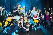 Breakdancers on stage celebrate prize in contest Hip Hop International - Cup Of Russia