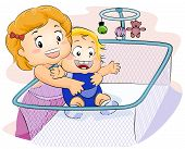 image of babysitting  - Illustration of a Kid Trying to Carry her Baby Brother - JPG