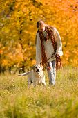 Autumn Country - Woman Walk Dog In Meadow