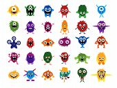 Постер, плакат: Cute monsters Big set of cartoon monsters