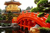 Oriental Golden Pavilion Of Chi Lin Nunnery And Chinese Garden, Landmark In Hong Kong poster