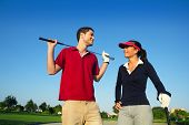 Golf Course Young Happy Couple Players Couple Talking