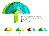 Set of abstract umbrella icons, business logotype protection concepts, clean modern geometric design poster