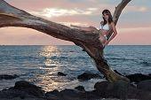 Woman In White Bikini With Sunset