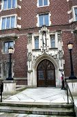 historic building entrance in university of michigan poster