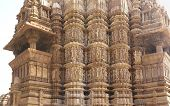 stock photo of kandariya mahadeva temple  - Shikara tower geometric decorations Kandariya Mahadeva Temple at Khajuraho India - JPG