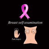 Постер, плакат: Breast self examination The fight against breast cancer Diagnosis of breast cancer The fight agai