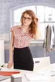 Pretty Young Fashion Designer Girl In Office
