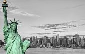 New York City Skyline Statue Liberty Tourism Concept