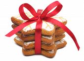 stock photo of christmas cookie  - A stack of four cookies - JPG
