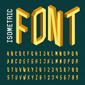Isometric alphabet vector font. poster