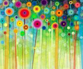 Abstract flower paintings in the meadows poster