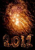 Big Firework Expldes With 2011 Below