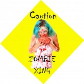 Постер, плакат: Caution ZOMBIE XING sign Zombies are a menace and pay no attention to traffic laws while on their s