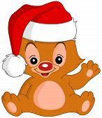 picture of santa claus hat  - Cute Christmas teddy bear waving his hand - JPG