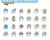 Flat line icons set of human brain process poster