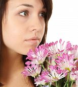 Girl Portrait With Flowers.