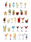 Постер, плакат: Popular Alcoholic Cocktails Isolated On White