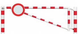 stock photo of no entry  - Gated Road Barrier Closeup Round No Vehicles Sign Roadway Gate Bar In Bright White And Red Traffic Entry Stop Block And Vehicle Security Point Gateway Gated Isolated Closed Way Entrance Checkpoint Halt Roadsign Signage Warning Symbol Restricted Area Block - JPG