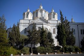 stock photo of trinity  - The Holy Trinity church in the Russian Compound Jerusalem Israel - JPG