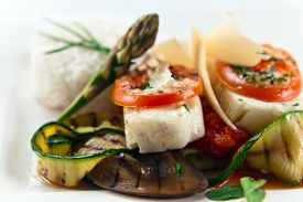 foto of halibut  - fresh baked halibut with vegetables and spices - JPG
