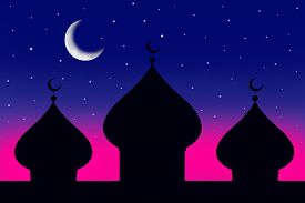 image of ramazan mubarak  - Silhouette of a mosque and the moon at the dusk - JPG