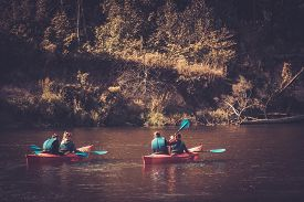 picture of kayak  - Group of people on a kayaks - JPG