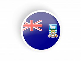 stock photo of falklands  - Round sticker with flag of falkland islands isolated on white - JPG