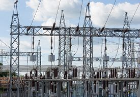 image of substation  - High voltage electric power substation with sky background - JPG