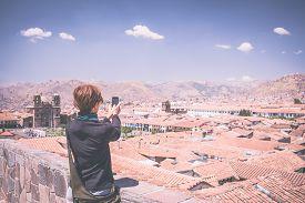 foto of marsala  - Female tourist taking selfie while visiting Inca - JPG