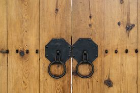 picture of dong  - wonseo dong traditional wooden door knob of a traditional hanok gate - JPG