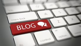 stock photo of blog icon  - Online blog or blogging concept with a red enter button on a white computer keyboard with the word  - JPG