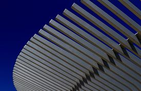 picture of canopy  - A picture of an exterior metal canopy against a blue sky - JPG